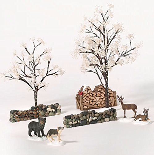(Department 56 Woodland Landscape Set of 9 with Deer Bear and Wolf)