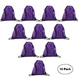 LIHI Bulk Drawstring Backpack Bag Nylon Basic Gym Sack Pack Sport Cinch String Bag For Party,Travelling,Giveaways,Hiking and Storage Use 10PCS Purple