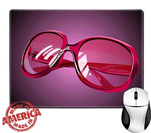 """Luxlady Natural Rubber Mouse Pad/Mat with Stitched Edges 9.8"""" x 7.9"""" pink sunglasses IMAGE ID - Gamers Eyewear Edge"""