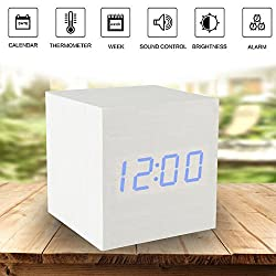 Girlsight White Wood Alarm Clock,Digital Alarm Clock, Wooden Wake Up Bedside Travel Alarm Clock with Time Temperature Humidity Sound Control Led Alarm Clock for Home Bedroom Office-square