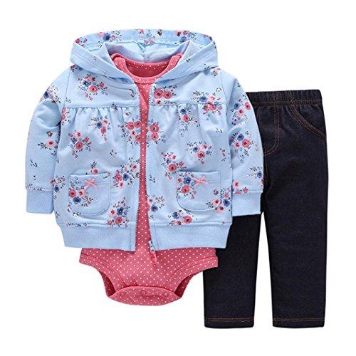 3pcs Kids Baby Boys Girl Long Sleeve Star T-shirt Tops Pants Hat Outfit Set(Blue) - 1