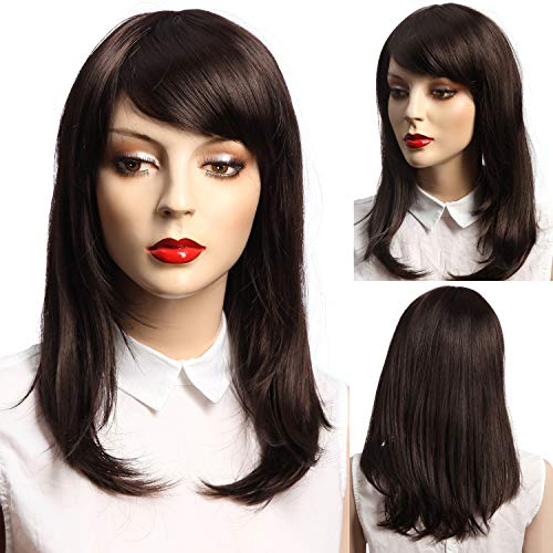 NFACE Synthetic Fiber Kanekalon Long Bob Shoulder Length Straight for Black African American Women Lace Wigs/Hairs Party Cosplay Punk Halloween Costume with Bangs Fringe Black 4# Dark Brown 147g -