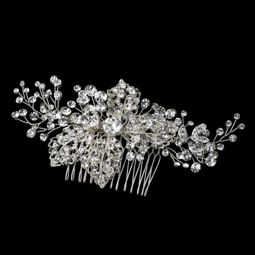Lisa Silver Rhinestone Comb with Leaves Wedding Bridal Special Occasion by Special Moments LLC