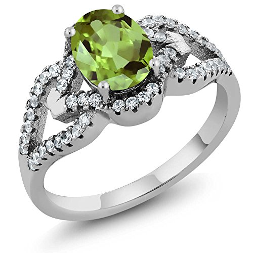 925 Sterling Silver Green Peridot Women's Ring 1.35 cttw Center: 8x6mm Oval, Gemstone Birthstone (Size (Olive Green Cocktail Ring)