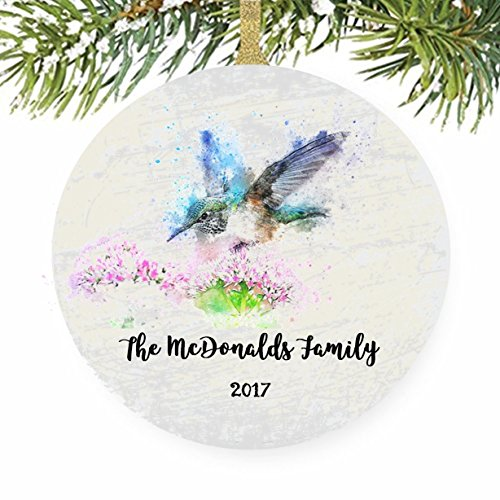 Hummingbird Watercolor Bird Art Christmas Tree (John Deere Favor)
