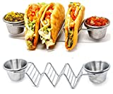 Stainless Steel Taco Holder Stand, Set of 2 – 4 x 8 Inch Taco Rack For 3 Hard or Soft Shell Tacos with 4 Cups – Dishwasher, Oven & Grill Safe Taco Truck Tray Style For Baking, Reheating & Serving