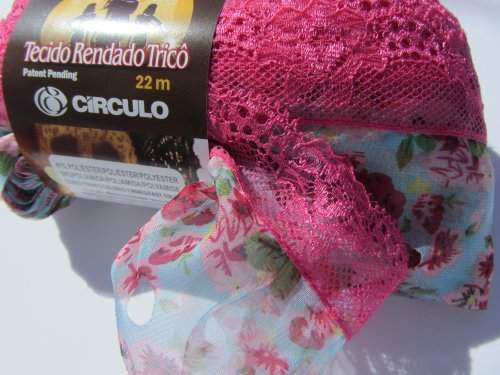 Circulo Tecido Rendado Trico Ruffling Scarf Yarn Color 2876 Sky Blue Pink Flowers with Pink Lace