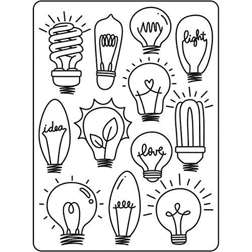 DARICE 30023116 Embossing Folders: Hand Drawn Light Bulbs Pattern, Multicolor