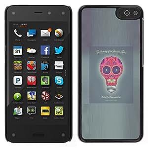 KLONGSHOP // Cubierta de piel con cierre a presión Shell trasero duro de goma Protección Caso - Idea Luz Poster divertido del cráneo del bulbo gris - Amazon Fire Phone //