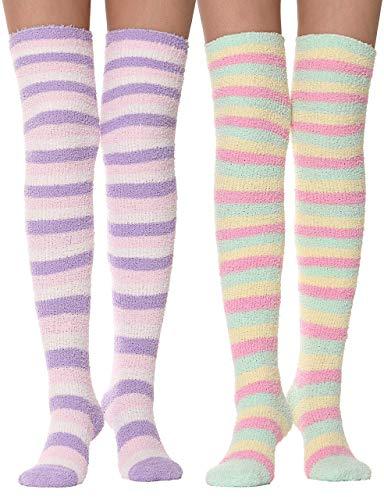adbfb8bd6f1 JUMUU 2 Pairs Girls Womens Over Knee High Fuzzy Socks Stockings Fluffy Soft  Warm Cozy Cute