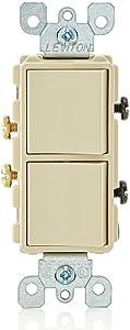 Leviton 5634-I 15 Amp, 120/277 Volt, Decora Single-Pole, AC Combination Switch, Commercial Grade, Grounding, Ivory