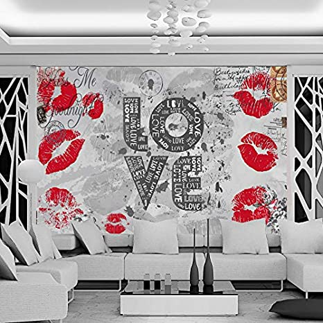 AQSGH Moda retro labios rojos románticos ktv bar barra clara tema ...