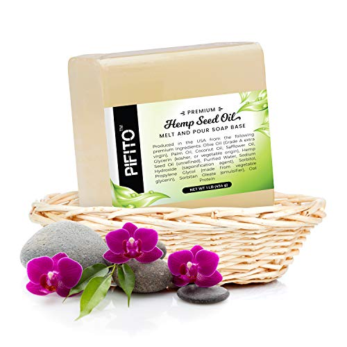 Pifito Premium Hemp Seed Oil Melt and Pour Soap Base (2 lb) - 100% Natural Glycerin Soap Base - Luxurious Soap Making Supplies