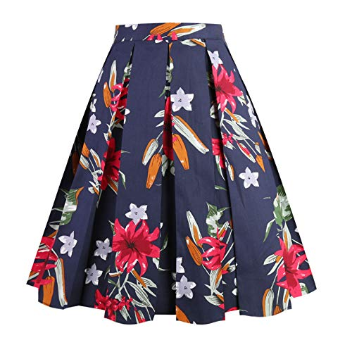 (Dresstore Vintage Pleated Skirt Floral A-line Printed Midi Skirts with Pockets Navy-Red-Flowers-XL )