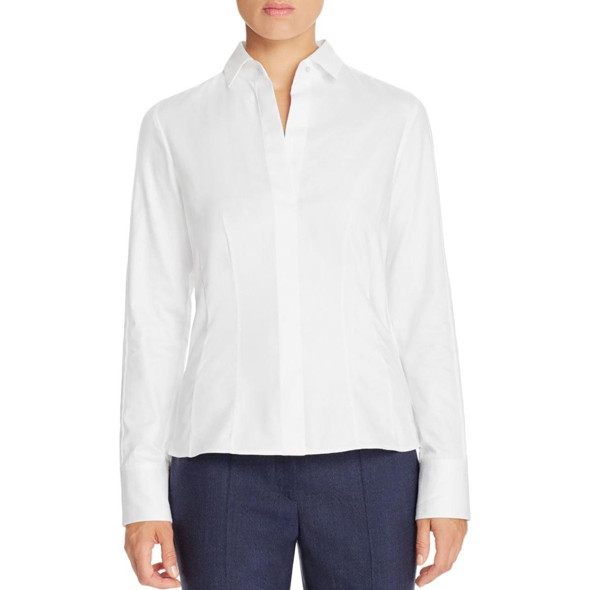 BOSS Hugo Boss Womens Bashina6 Side Zip Cotton Button-Down Top White 10 by Hugo Boss (Image #1)