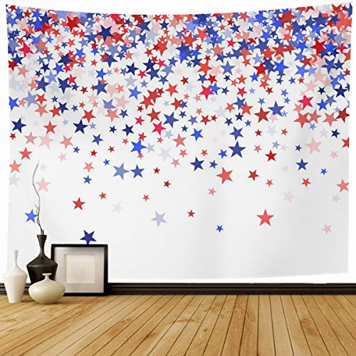 Ahawoso Tapestry Wall Hanging 60x50 Patriotic Pattern Colors USA Blue Red American Holidays Navy White 4Th America Bright Star Home Decor Tapestries Decorative Bedroom Living Room Dorm