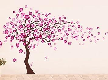 Pop Decors Removable Vinyl Art Wall Decals Mural Cherry Blossom Tree Dark Brown