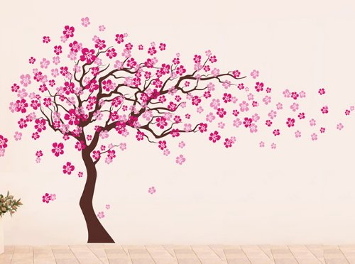 Pop Decors Removable Vinyl Art Wall Decals Mural, Cherry Blossom Tree/Dark Brown/Hot Pink by Pop Decors (Image #4)