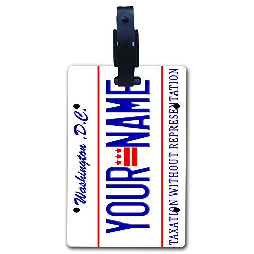 State Luggage Tag (BleuReign(TM) Personalized Custom Name Washington DC State License Plate Luggage Tag with Strap)