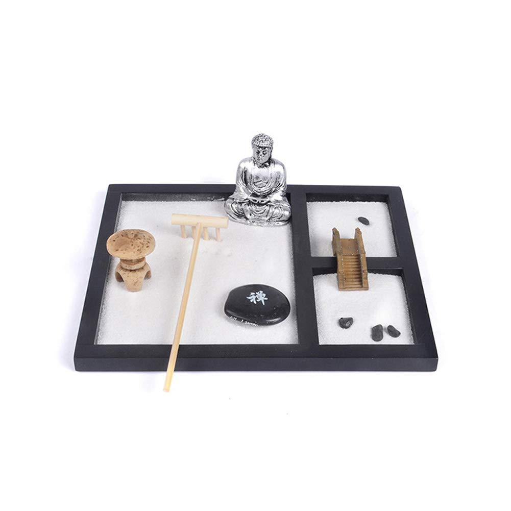 Excellent112 Zen sabbia meditazione ornamenti, base in legno Buddha bianco sabbia resina mentale Tai Ji cinese ornamento decorazione per giardino –  Porta candele