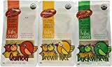 Organic, Sprouted Baby Cereal Assortment: Quinoa, Brown Rice, Buckwheat - 7 Oz. (198 g) Each - 3 Pack Bundle
