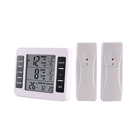 Topker Termómetro digital para interiores / exteriores Medidor de temperatura inalámbrico 0 ℃ -50 ℃ / -40 ℃ -60 ℃ Medición ℃ / ℉ Máx. Valor mínimo: ...
