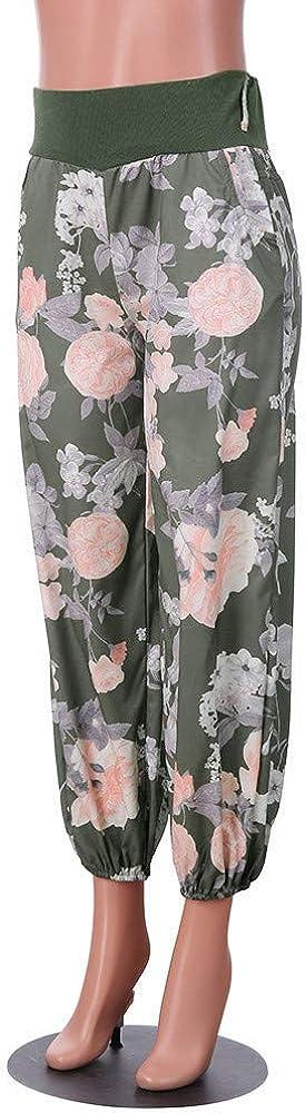 Ladies Summer Loose High Waist Baggy Plus Size Floral Printed Trouser Leggings Womens Wide Leg Yoga Pant