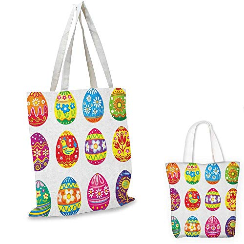 Easter thin shopping bag Colorful Easter Eggs with Flowers Stripes and Hen Design Ornate Cartoon Illustration canvas tote bag Multicolor. 15