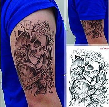 Sexy Hombres Hombres Tatuaje Temporal Cráneo Reloj Brazo Corporal ...