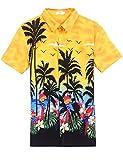 Halife Mens Coconut Tree Print Beach Aloha Party Shirt Yellow,M