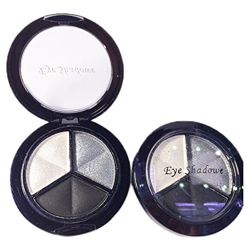 SODIAL(R)Professional Smoky Cosmetic Set 3 Colors Natural Matte Eyeshadow Makeup Tools Palette Naked Nude Eye Shadow Glitter #1 black + white + gray