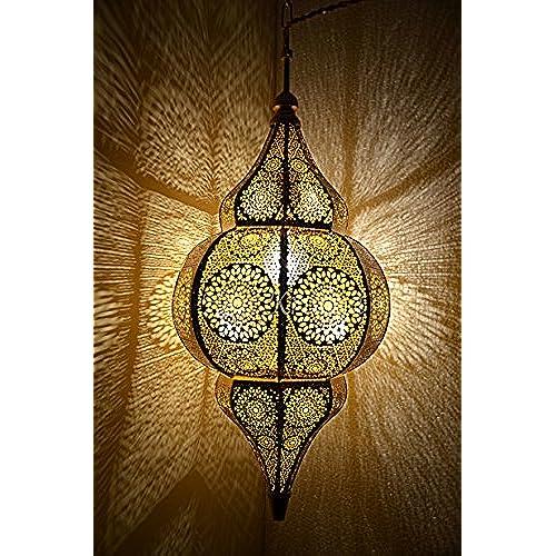 Lampe à Suspension Style Marocain en Métal (Jaune) 50 x 25 Cm