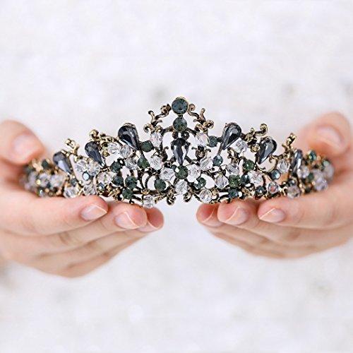 - Brishow Weddding Rhinesrtone Crown Black Bridal Tiara Fashion Jewelry Hair Accessories for Women and Girls