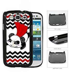 Flying Superhero Panda Cartoon With Chevron Design Hard Plastic Snap On Cell Phone Case Samsung Galaxy S3 SIII I9300