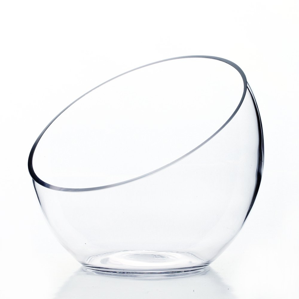 """WGVI Clear Slant Cut Bowl Glass Vase/Candle Holder. Slant Opening: 7"""". Height: 6""""x2.7"""". Wholesale Lot (8 pieces) VHC0706"""