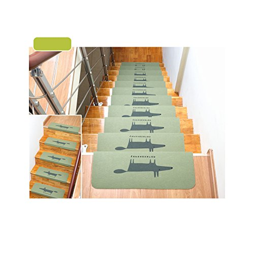 Huluwa Carpet Stair Treads, Anti Skid Stairs Rug, Non Slip Floor Step Mats,  Cuttable, Seamless Adhesive Padding, Green Fox, Pack Of 5