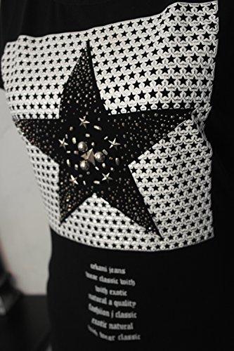 Impressionen T-Shirt kurzarm Longshirt schwarz Stern Sterne Nieten Schrift Shirt L/XL