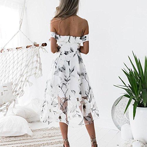 Spiaggia Bianco Dal Vestito Di Sexy Donne Floreale In Boho Fuori Festa Bsgsh Estate Maxi Spalla Casuale qfFHA7