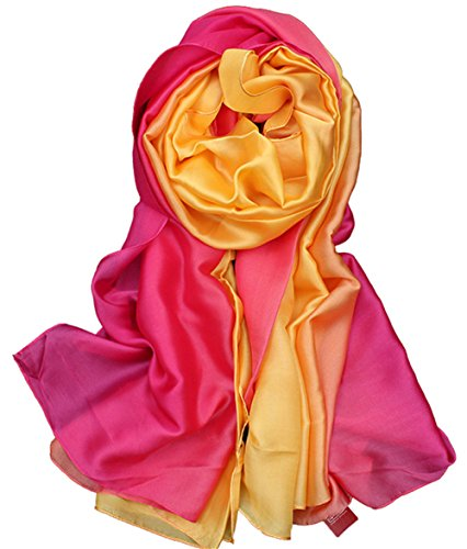 Invierno Todo bufanda Verano larga Amarillo 1 Anti Uv Color degradado Mujer Gran 5 Seda colorida bufanda fxnOUFF