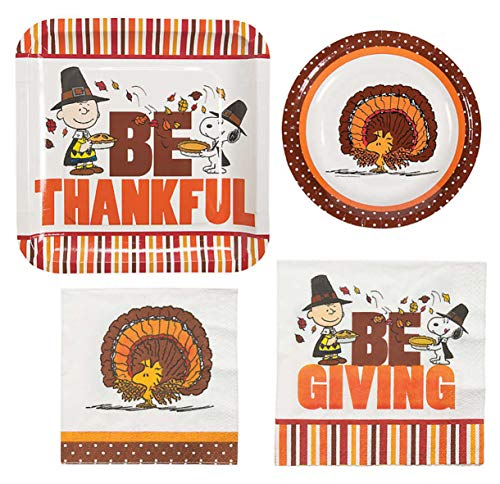 Peanuts Thanksgiving Dinner (Peanuts Charlie Brown Thanksgiving Party Supplies for 16 People: Lunch or Dinner Plates, Dessert Plates and Napkins 64 Piece)