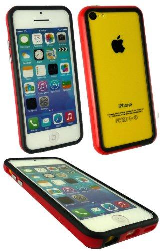 Emartbuy ® Sparkling Eingabestift Pack für Apple Iphone 5c Schwarz Sparkling Mini Eingabestift + LCD Displayschutzfolie + rot / Schwarz Moulded Stoßfeldfall Gel Cover / Schutzhülle