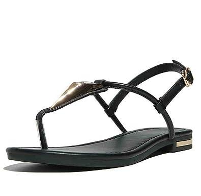 4789405529b8 Aisun Women s Rhinestones Ankle Buckle T-Straps Split Toe Slingback Flat  Sandals Black 5.5 UK