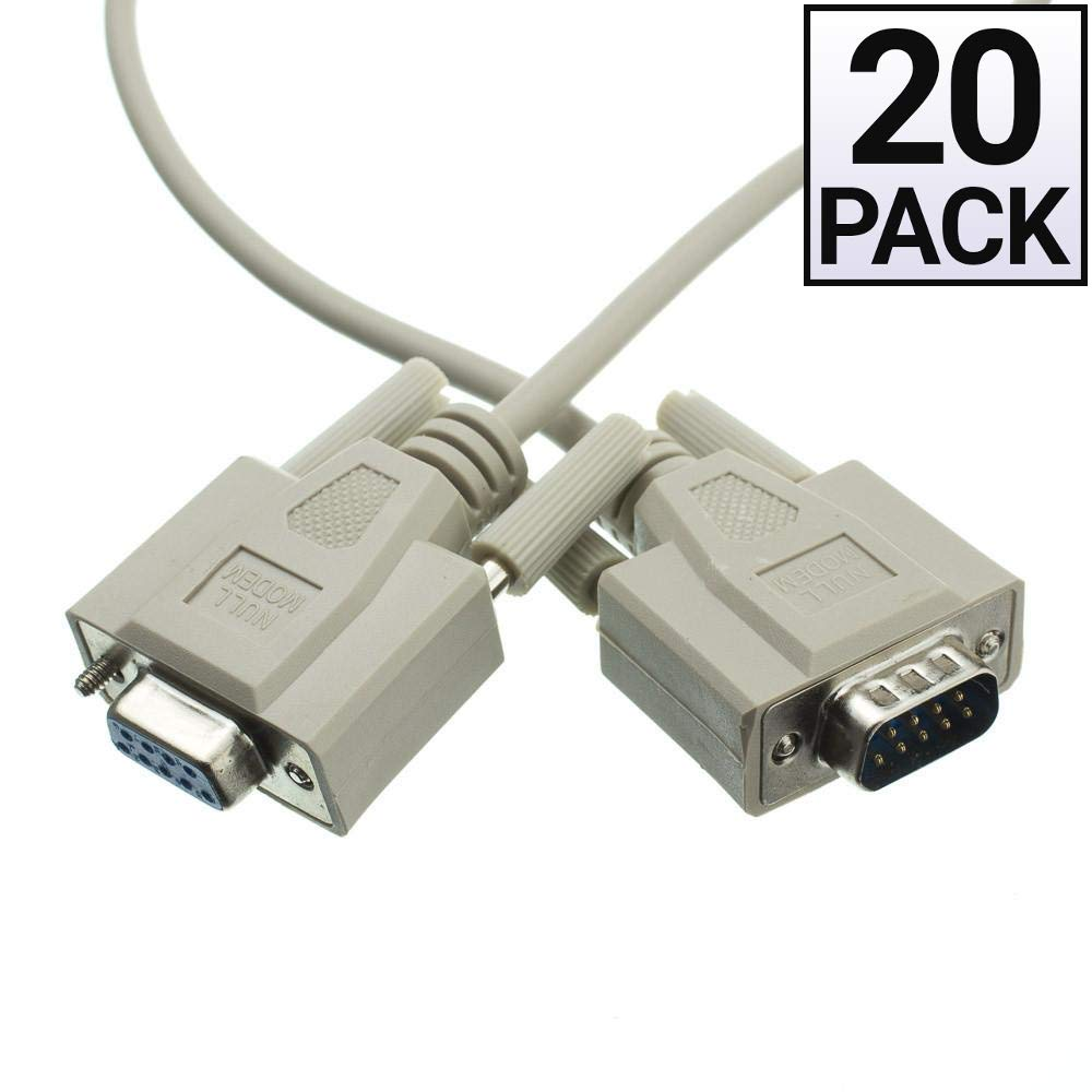 GOWOS (20 Pack) Null Modem Cable, DB9 Male to DB9 Female, UL Rated, 8 Conductor, 6 Feet by GOWOS