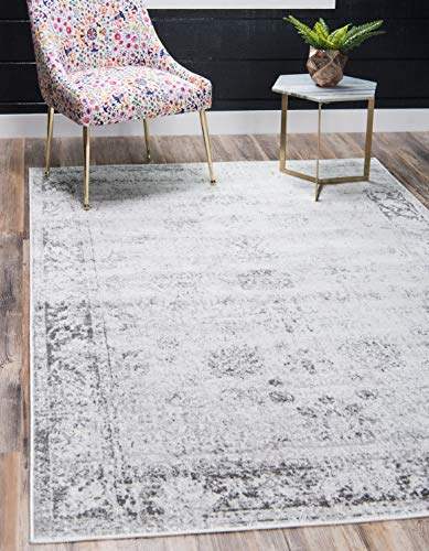Unique Loom Sofia Traditional Area Rug, 4' 0 x 6' 0, Gray - This rug is perfect for those high traffic areas in your home. It's also kid and pet friendly! This rug is water resistant, mold and mildew resistant, stain resistant, and does not shed. Cleaning Instructions: As long as it's a short-pile, indoor rug, we recommend spot cleaning with resolve, and regular vacuuming is recommended. You can use a carpet cleaner (shampooer) but it should be dried immediately and evenly. - living-room-soft-furnishings, living-room, area-rugs - 51h%2BpTwHHSL -