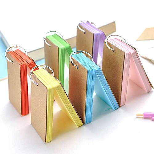 Kesoto 300 Pieces Multicolor Word Cards Blank Flash Cards Index Cards Vocabulary Word Study Cards with Binder Ring, 2.2 x 3.5 Inches, 6 Packs, 50 Sheets/Pack