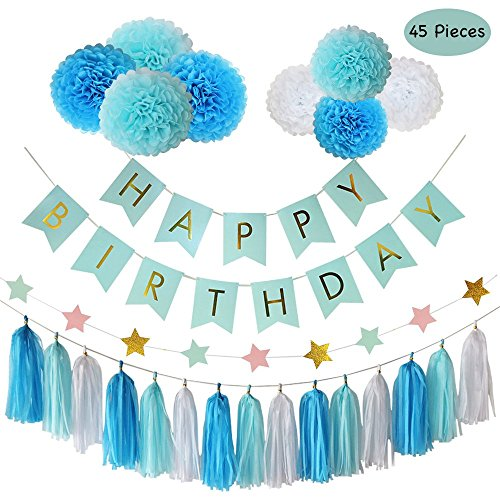 Party Decorations, Parlie 45pcs Party Decors and Supplies, Set includes Happy Birthday Banner, Paper Tassels, Pompoms and Garland Stars for Blue