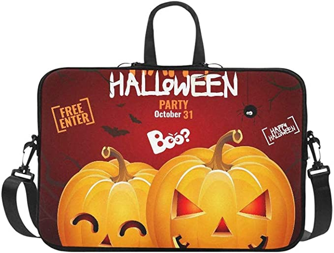 HP13 inch Laptop Messenger Funny Halloween Greeting Card with Smiling Jack OLantern in Paper Style Handbag Laptop Bag Compatible 13-13.3 inch MacBook Air Pro