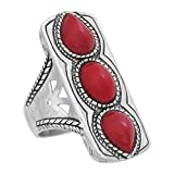 Silpada 'Deep Sea' Elongated Natural Red Coral Ring in Sterling Silver