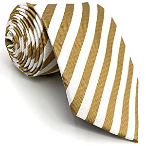 Shlax&Wing Stripes Khaki White Mens Necktie Business Suit Tie Set Skinny Extra Long