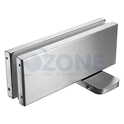 Ozone OCFH-100 Steel Hydraulic Bottom Patch for Glass Doors (Silver